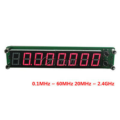 0.1-60MHz 20MHz~2.4GHz RF Signal Frequency Counter Cymometer Tester Display 8LED