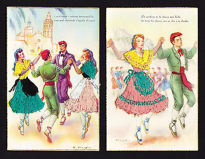 TWO postcards Embroidered Sardana Catalan Catalans Culture Dancing Dancers Spain