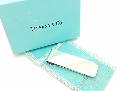Vintage Tiffany & Co Makers Sterling Silver Plain Money Clip Holder Pouch & Box
