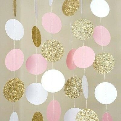11FT Pink White Gold Glitter Circle Polka Dots Paper Garland Banner Party Decor