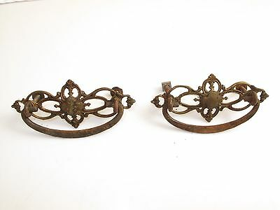 "Pair Antique Brass Ornate Intricate Drawer Pulls Handles Victorian 4 1/2"" 1800's"