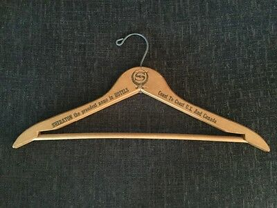 Vintage SHERATON HOTELS Wooden Clothes Hanger FREE UK POSTAGE