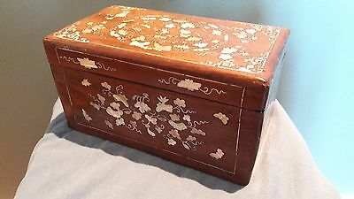 Vietnamese   Chinese  Rosewood  Mother  Of  Pearl Inlaid  Box .
