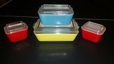 8 Vintage Pyrex Primary Colors Red Blue Yellow Plus Lids