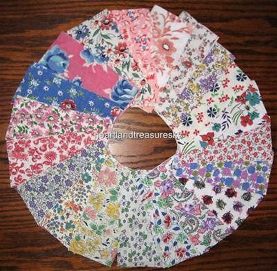 "Vintage Feedsack Fabric   20  5"" Square Floral Charm Bundle  No Duplicates"