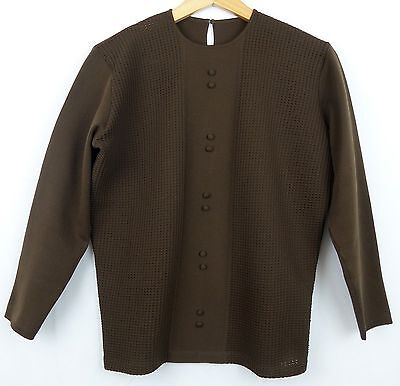 Vtg 3/4 Sleeve Round Neck 70s Brown Polyknit Top Mod Mad Men 14/16 EA52