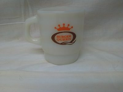 Vintage BURGER QUEEN Fire King Anchor Hocking Coffee Mug 1963-1981 Good Morning