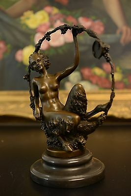 SIGNED bronze sculpture FEMALE SATYR w/ Grapes Statue
