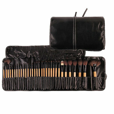 Professional 32 Pcs Kabuki Make Up Brush Set and Cosmetic Brushes Case-WOOD