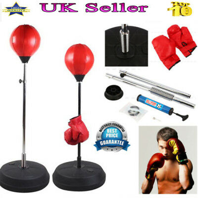 New Standing Adjustable Adult Punch Bag Ball Kit Includes Gloves Mitts Boxing