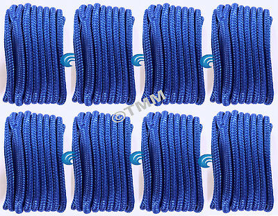 "(8) Blue Double Braided 1/2"" x 15' HQ Boat Marine DOCK LINES Mooring Rope Cord"
