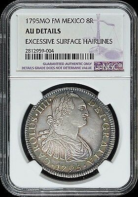 1795 Mo FM Mexico 8R NGC AU Details (Excessive Surface Hairlines) Nicely Toned