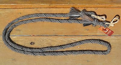 """5/8"""" Angora Mohair Loop/Roping Reins 8 ft.- Grey and Black & White"""