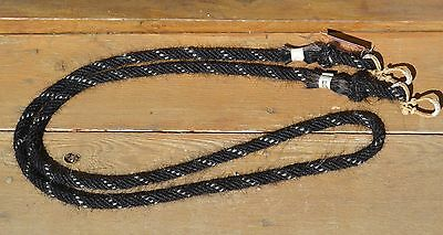 "Jose Ortiz 5/8"" Mane Roping Reins 6 Strand 8.5 ft.- Black & White"
