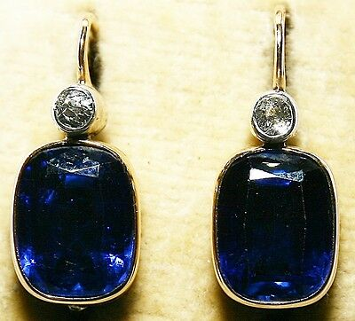ANTIQUE 14K GOLD EARRINGS w/ SYNTHETIC SAPPHIRE & NATURAL BRILLIANT 1920's