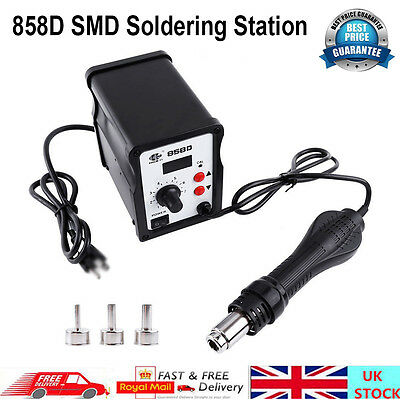 LCD 2in1 220V 858D SMD Soldering Station Hot Air Gun Rework Equipment +3 Nozzles