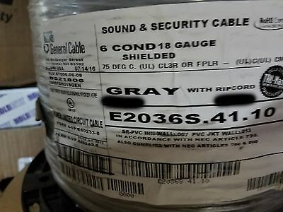 Carol E2036S 18/6C Stranded Shielded Riser Communication/Control Cable Gry /50ft