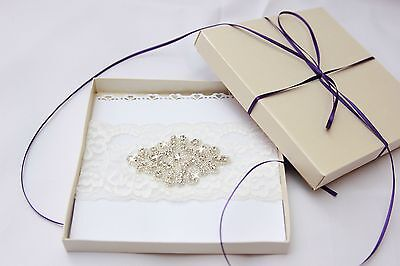 Boxed Vintage IVORY lace WEDDING garter for Bride Rhinestone crystal NEW,,[