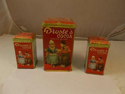 Set Of 3 Droste's Cocoa Tins 1Lb & 2 4 Oz Haarlem Holland Very Nice Condition