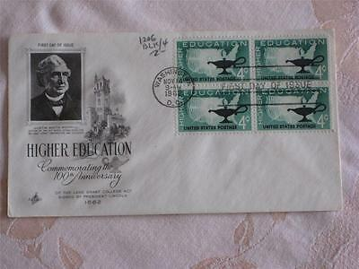1962 First Day Of Issue Envelope, 4 Stamps, Higher Education, Justin Morrill