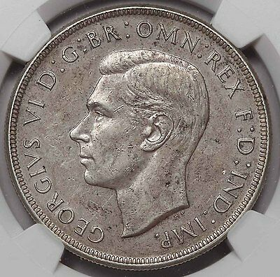 1938 Australia George VI Silver CROWN Coin NGC AU55 About Uncirculated KEY DATE