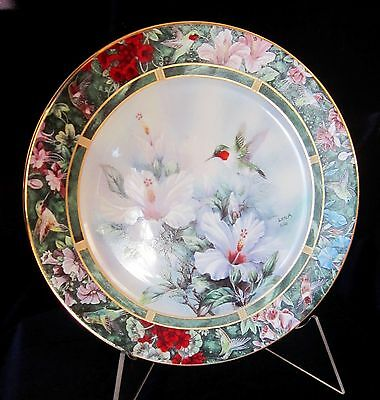 Ruby Throated Hummingbird Porcelain Collector Plate by Lena Liu - Gold Trim