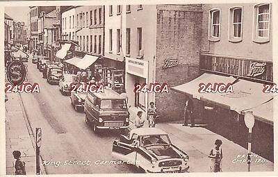 Welch Postcard. King Street, Carmarthen. Signs: Boots, Singer. Period Cars 1950s