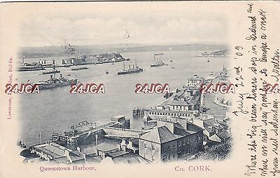 Irish Postcard.  Queenstown Harbour. Cork. Royal Navy Ships. U.B. Scarce!  1903