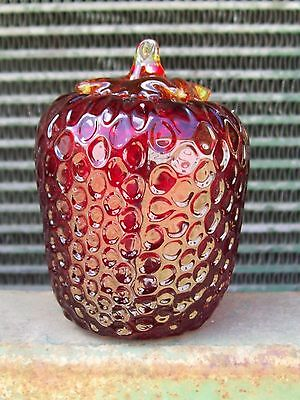 VERY INTERESTING   red glass  STRAWBERRY PAPERWEIGHT    quite different