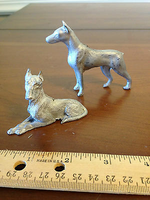 """Set of 2 Dollhouse  miniature pewter Great Dane dogs standing laying down 3"""""""
