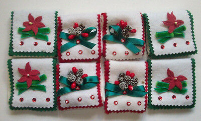 Vintage home made felt beads attached poinsettia pinecone set 8 napkin holders