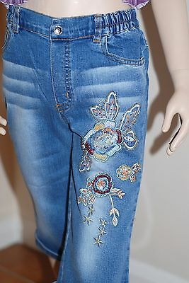 Crop Stretch Jeans 5/6 years Beads Glitzy Bling Blue Stonewash NEW Capri Length
