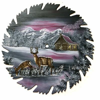 Hand Painted Saw Blade Winter Gray Mauve Log Cabin w 2 Deer 9 1/4 inch Blade