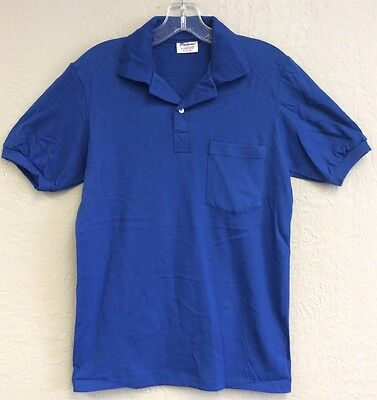 Stedman's Men's Polo Shirt VINTAGE Royal Blue Pocket Small 34-36 Made USA New