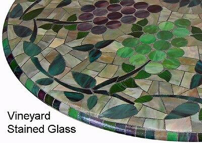 "Round 36"" to 48"" Elastic Edge Fitted Vinyl Table Cover Vineyard Stained Glass"