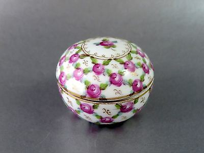 Fine Antique FRENCH SEVRES Hand Painted Roses Porcelain ROUND LIDDED PATCH BOX