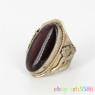 Collectible Chinese Inlay purple opal Tibet Silver dargon phoenix old man Ring