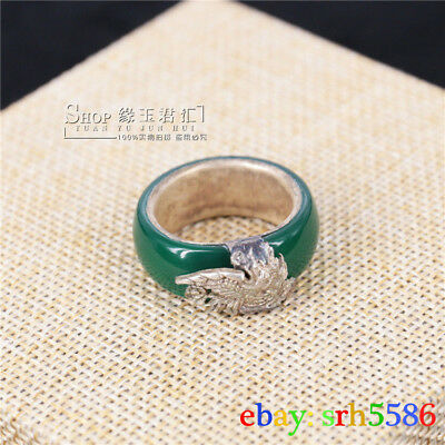 Old Chinese style green jade gems Tibet Silver phoenix women's Ring size 8#