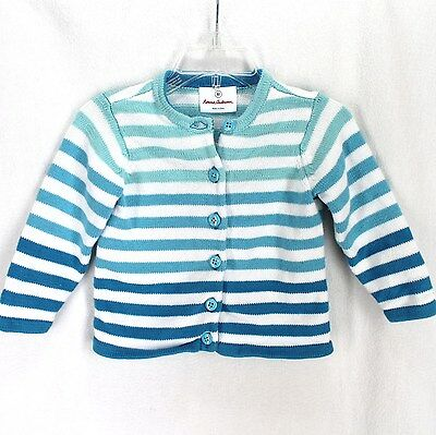 Hanna Andersson Cardigan Sweater Girls Sz 80 18-24 Months Blue White Stripe