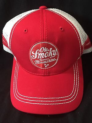 Pre-Owned Ole Smoky Tennessee Moonshine Red Mesh Trucker Hat Cap Snapback Nice!