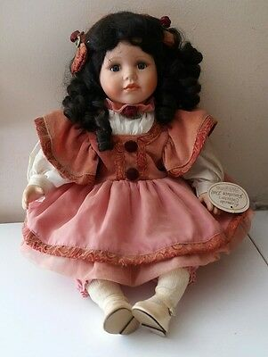 "Vintage Porcelain Doll Leonardo Collection Hayley Black Hair Ringlets 15"" Seated"