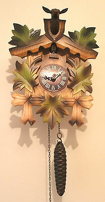 "GermTraditional German 1 Weight Driven Carved Wood Case Cuckoo Clock GWO 10""H"