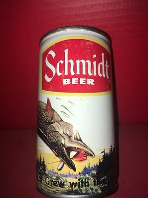 1 SCHMIDT BEER Northern Pike Lake Woods scenic sport steel can SIGN ADVERTISING