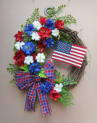 """19"""" July 4th Flag Red White Blue Floral Door Grapevine Wreath"""
