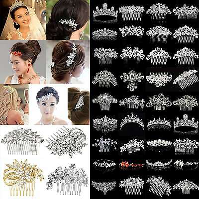 Bridal Wedding Rhinestone Crystal Hair Headband Crown Comb Tiara Pageant New GUT