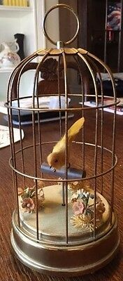 Vintage Bird In Cage Mechanical Music Box Wind Up Automated Moving Perch