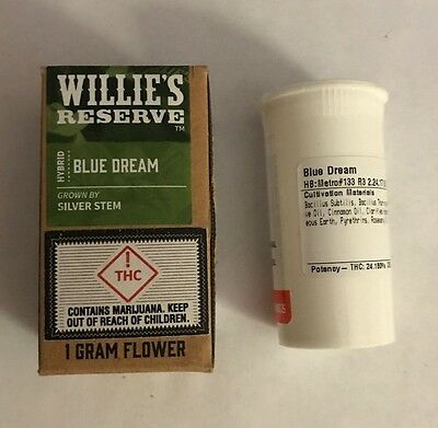 Willie's Reserve Blue Dream Hybrid EMPTY Cannabis container with box Collectible