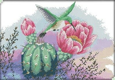 Flowers and Hummingbird. 14CT counted cross stitch kit. Craft brand new.