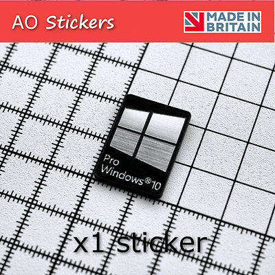 1 x windows 10 Pro logo ALUMINIUM/CARBON  sticker badge  SILVER for laptop PC