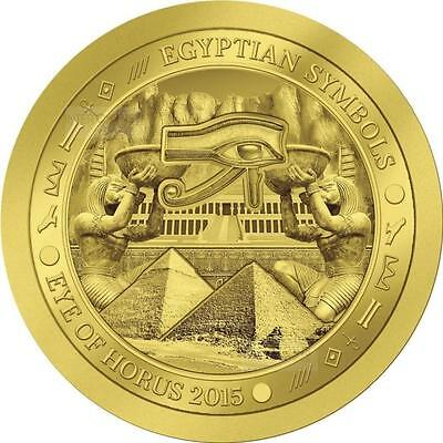 """2015 - Palau - 1/2 gram .9999  gold coin """"Eye of Horus"""" 14 mm with certificate."""